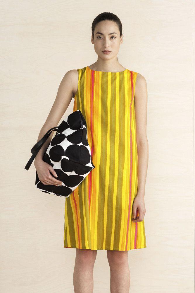 Collection: Summer 2016 Fashion. Print: Pikku Rotti by Vuokko Eskolin-Nurmesniemi. Material: 100% cotton voile. Lining 100% cotton. Description: Classic a-line shift dress with side seam pockets. Slee