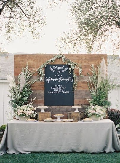 pie dessert bar, chalkboard menu, dessert bar // design by Amanda O'Shanessy Creative // Twigss Floral Studio // Rylee Hitchner Photography // Sarah Lynn Jones // Events by Satra