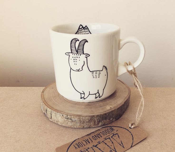 European Mountain Goat Mug - hand painted illustrated quirky chamois animal dish funny cute cup funky hipster cartoon mountains sheep Home & Living  Kitchen & Dining  Drink & Barware  Drinkware  Mugs  chamois  lamb  sheep  goat  woodland factory bowl  Ceramics and Pottery  nature  handmade  illustrated ceramic  Tea Cup  crockery  mountains