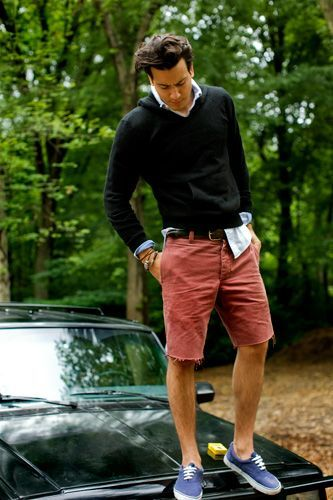 Shop this look for $108:  http://lookastic.com/men/looks/hoodie-and-longsleeve-shirt-and-shorts-and-plimsolls-and-belt/2618  — Black Hoodie  — Light Blue Longsleeve Shirt  — Burgundy Shorts  — Blue Plimsolls  — Dark Brown Leather Belt