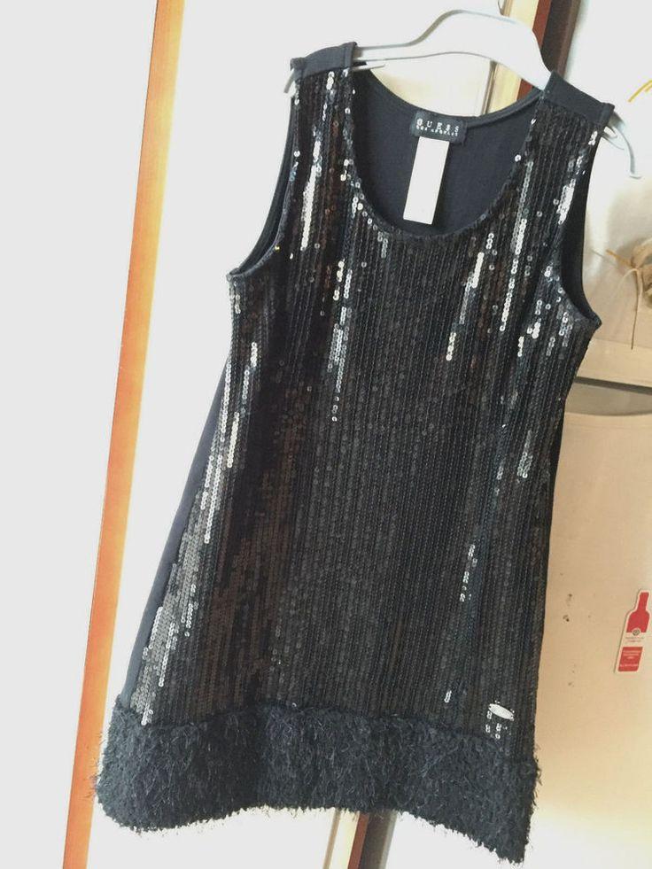 GUESS Girls Black Sleeveless Sequins & Fringe Sparkly Flapper Dress L (14) 10/12  | eBay