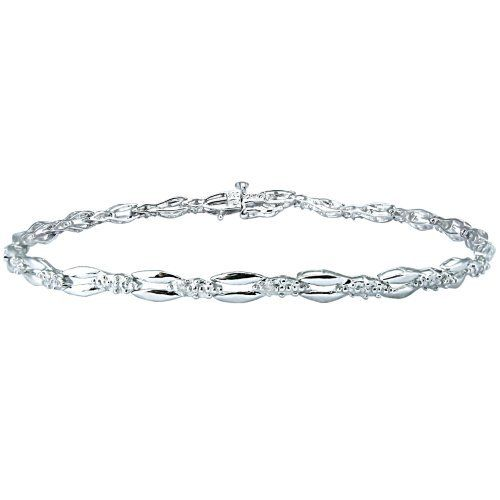 "Sterling Silver Diamond Accent Bracelet, 7.25"" Amazon Curated Collection. Save 44 Off!. $39.00. All our diamond suppliers certify that to their best knowledge their diamonds are not conflict diamonds.. This elegant bracelet is crafted in 18k gold over sterling silver. Made in China"