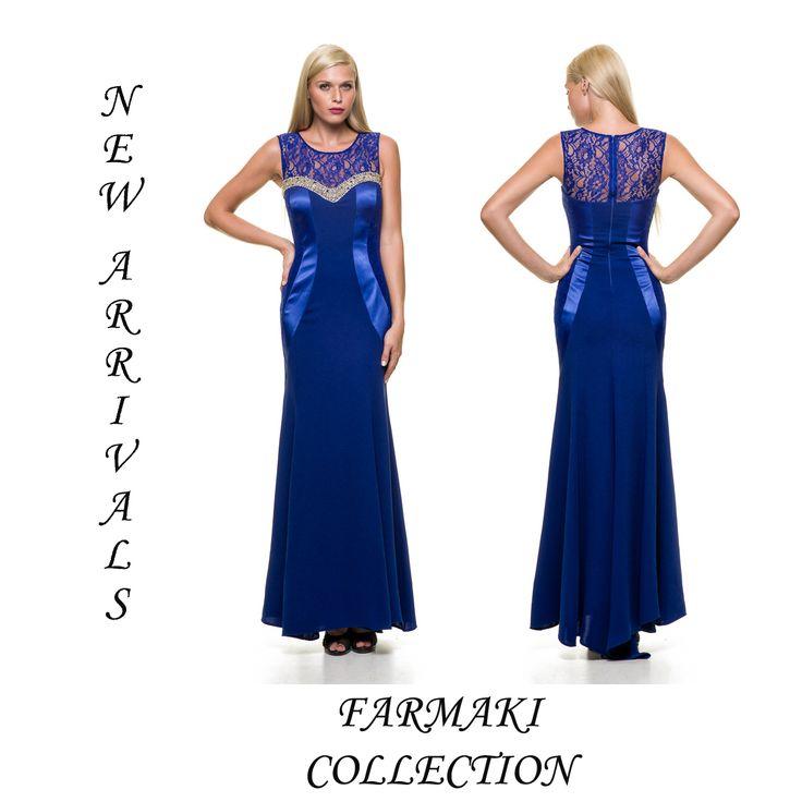 Φόρεμα μακρύ-γοργονέ γραμμή με λεπτομέρειες σατέν και δαντέλα στο κορσάζ και κέντημα. Ύφασμα κρέπ σατέν δαντέλα.