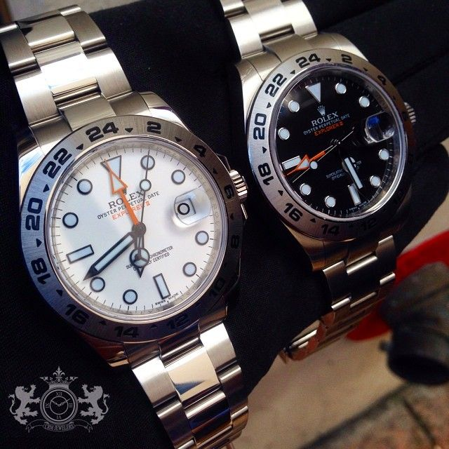 White or Blue Rolex Explorer II - Decisions, decisions!  http://www.instagram.com/crmjewelers  #menswatches #luxurywatch #mensfashion #rolex #CRMJewelers