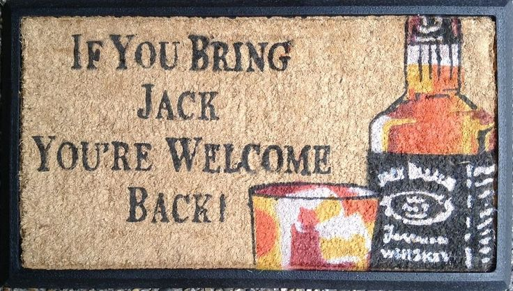 Jack Daniels welcome door mat PVC backing coir Patio Entry Deck Man Cave Bar