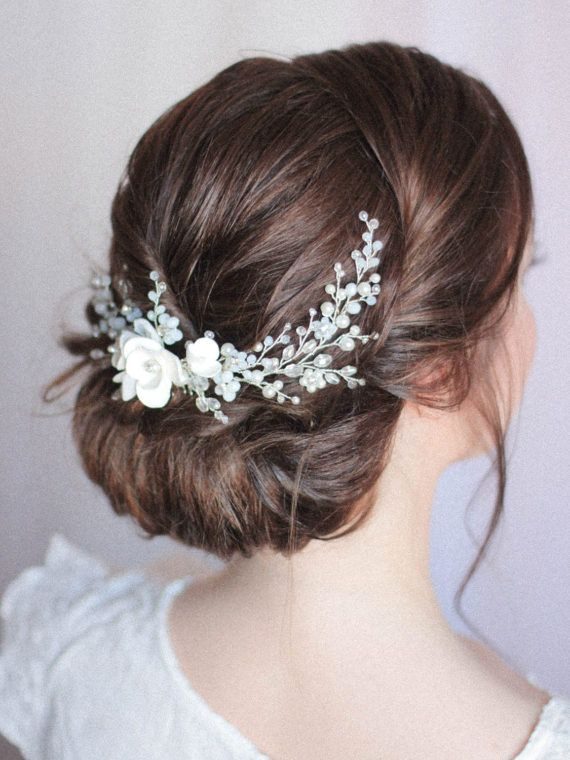Wedding Headpiece Bridal Hair Comb Large Decorative Hair Comb Over the Back / Low Bun Flower Hair Piece