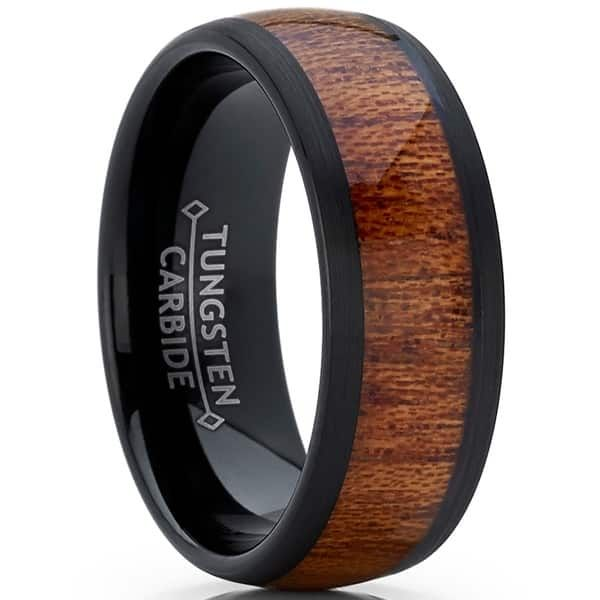 Brushed Center Black Comfort Fit Wedding Band for Men and Women includes Complimentary LASER Engraving Solid Tungsten Carbide Ring