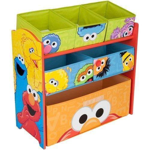 Sesame Street Elmo Multi Bin Toy Organizer Books Shelf