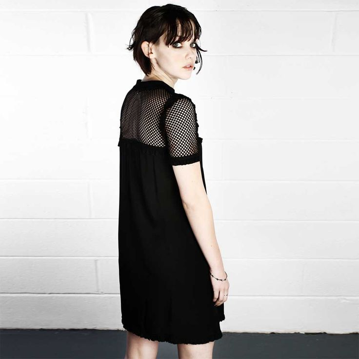 Veil korte jurk met gaas zwart