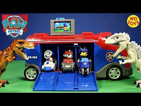 Nueva misión de patrulla PAW Nickelodeon Cruiser / mundo jurásico dinosaurios juguetes WD - YouTube
