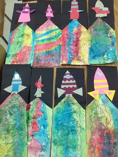 I'm happy with how these kindergarten mixed media pieces are turning out. I am going to give them part of one more class to finish them up...adding stars or planets on the black...and any details the