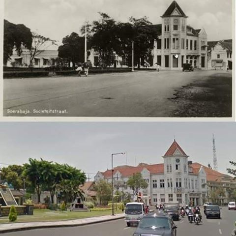 NOW - THEN  Soerabaja Societeitstraat (jl. Veteran sekarang) 1906 - 1930 (Collections KITLV)