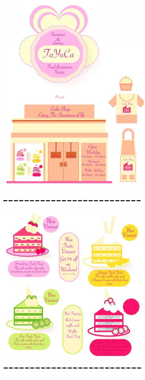 TaYuCa Vector Food Illustrations — Another new menu this time it's cake with fresh...