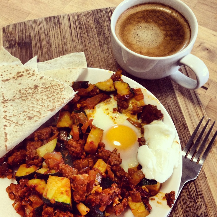 This was the most amazing breakfast! @Michelle Flynn Bridges Moroccan Breakfast Eggs - fantastic spices that woke up the taste buds!
