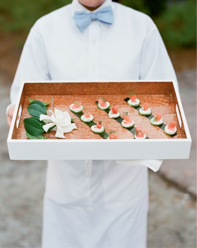 Passed hors d'oeuvres from the PPHG culinary team at Lowndes Grove Plantation in Charleston, South Carolina | Wedding menu inspiration | Photo by Corbin Gurkin