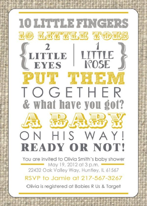 Grey And Yellow Baby Shower Invitations   Google Search