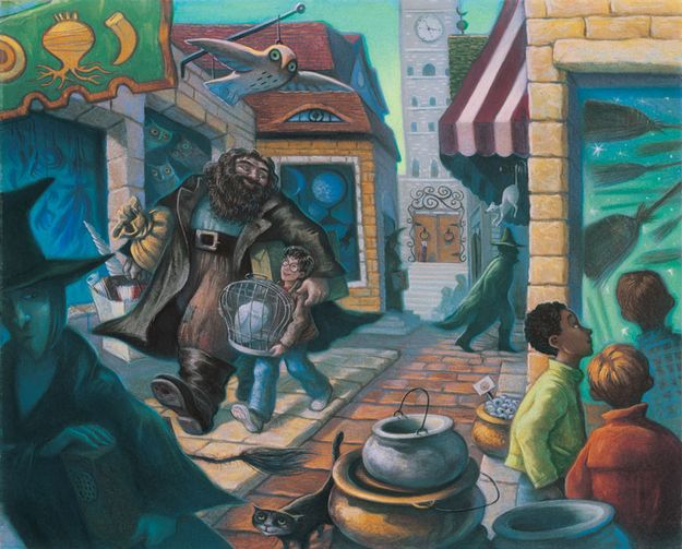 "16 Rare ""Harry Potter"" Illustrations From The Books' Artist: Books Covers, Mary Grandpré, Rare Harry, The Artists, Harry Potter Illustrations, Diagon Alley, Hagrid, Harry Potter Books, Harry Potter Art"