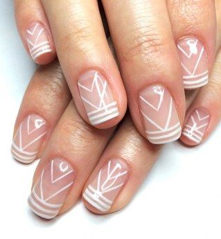 Nude nails with white details
