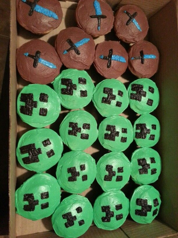 Creeper and diamond sword cupcakes for my son's minecraft birthday