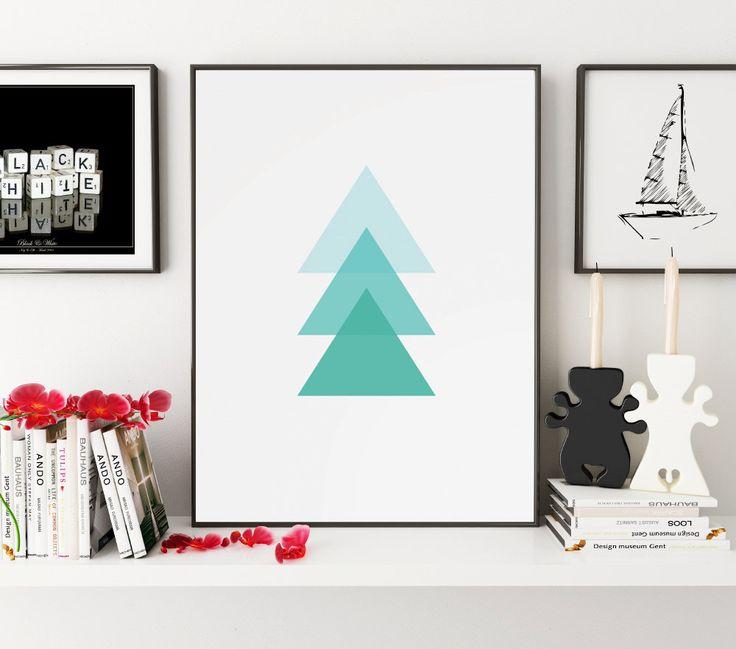 Triangle Print, Geometric Print, Blue, Geometric Art, Blue Wall Art, Glue Wall Print, Triangles, Wall Art