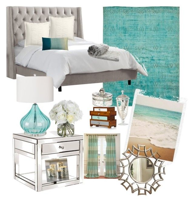 """Bedroom"" by wardrobedreamer on Polyvore featuring interior, interiors, interior design, home, home decor, interior decorating, Howard Elliott, Surya, Dot & Bo and Diane James"