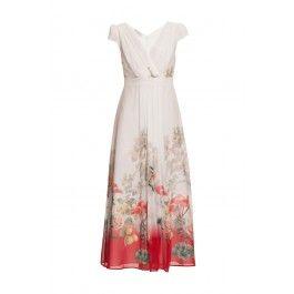Sukienka VINCI kremowa z kwiatowym wzorem