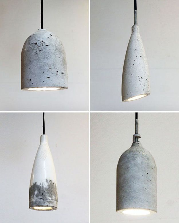 DIY Lighting Ideas and Cool DIY Light Projects for the Home. Chandeliers, lamps, awesome pendants and creative hanging fixtures,  complete with tutorials with instructions | Concrete Shade DIY Pendant Lights | http://diyjoy.com/diy-projects-lighting-ideas