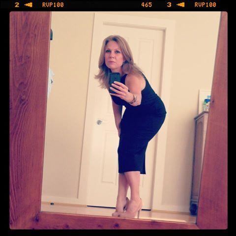 A selfie of Caroline Overington (The Boat Shift, #0813, size 10) competing for a little black dress event.