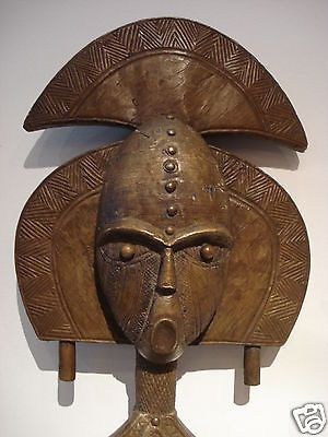 "Superb African Kota /Bakota tribe Gabon Bronze Mask w/stand 22"" h"