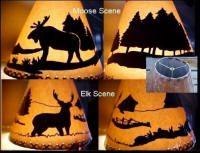 Rustic Cabin Lodge Decor Silhouette Moose Elk Bear Lamp Shade