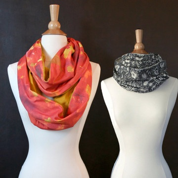 Infinity scarves are perfect for fall and designer Nina Glaser draws inspiration from nature to make artful scarves from eco-friendly materials such as organic cotton fabric.