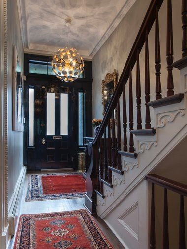 32 best images about stair halls on pinterest stripes for New york brownstone interior design