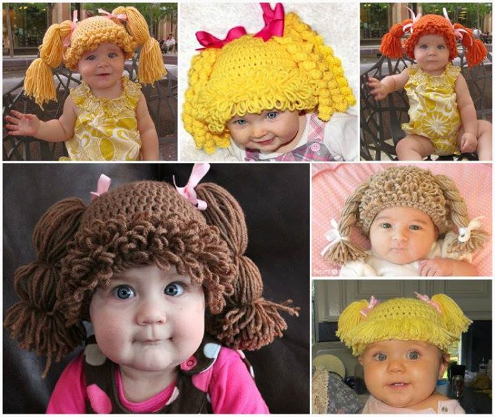 Cute Crochet Cabbage Patch Doll Hat---sure to be a great gift for any little one expecting a little baby girl !  Free pattern & pattern--> http://wonderfuldiy.com/wonderful-diy-cute-crochet-cabbage-patch-doll-hat/