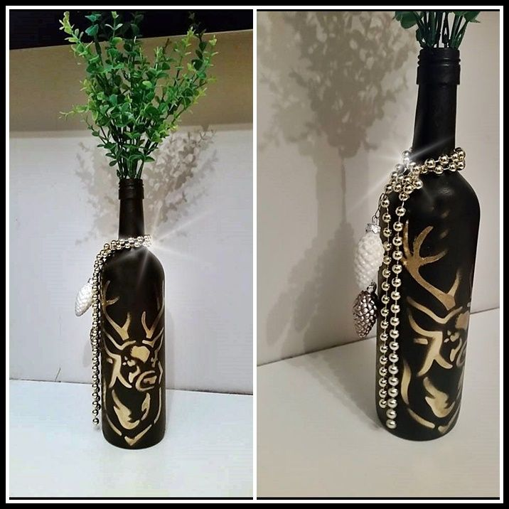 Easy wine bottle diy. Black Gesso, stencil, gold spray or paint, some decor- and you're good to go.
