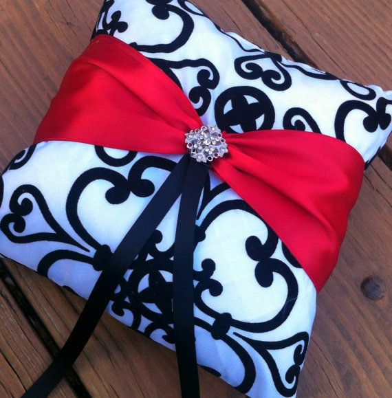 Black / White Wedding Ring Pillow - with a Lovely Red Sash and Rhinestone Accent... Wedding day ring bearer pillow...