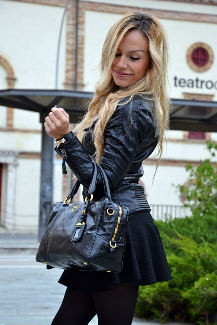 Leather jacket, skirt with trumpet hem and Prada bag - total black outfit fall winter 2013