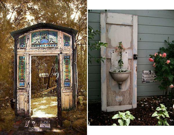 Outdoor Decor: Repurposing Old Doors | InteriorHolic.com ...