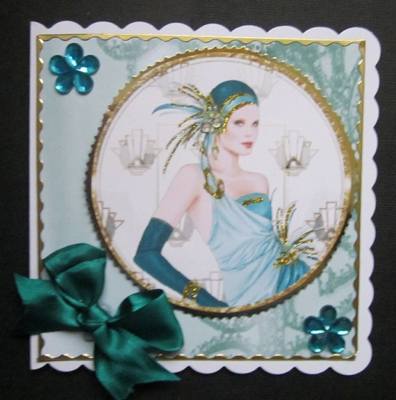 Super Art Deco Card with insert by SACards on Etsy, £3.50