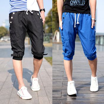 Baggy cargo pants men Knee length Buckles design Cotton Korean style Casual.Free shipping.1 Piece.Wholesale