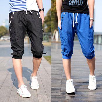 Baggy cargo pants men Knee length Buckles design Cotton Korean style Casual.Free shipping.1 Piece.Wholesale