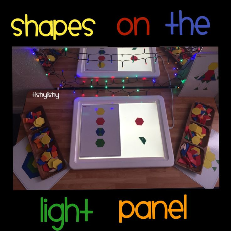 Shapes and cards on the light panel
