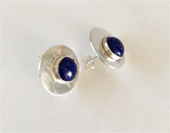 Lapis Lazuli Studs: Blue Stones on Hammered Sterling Discs