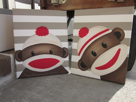 Sock Monkey Art Handpainted Paintings Set Wall by LoveFromDixie