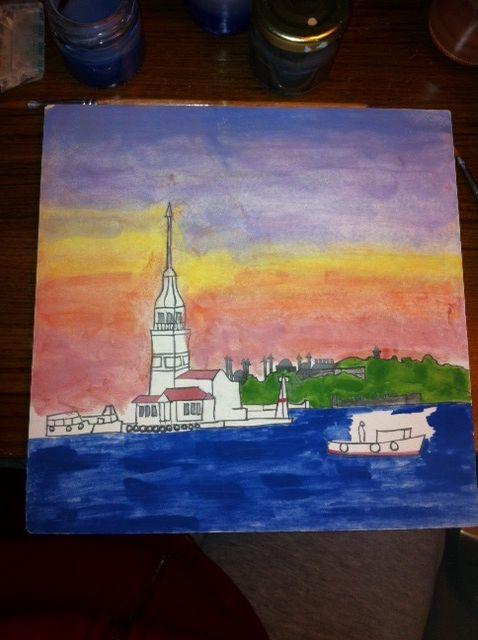 MADE BY Benian arsiray @benianarsiray  çini ceramic tile maiden tower kız kulesi Gravür gravure
