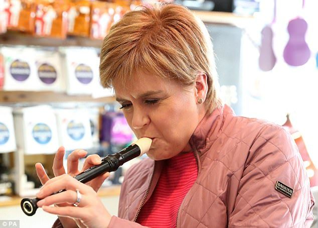 6/2/17 Dance to my tune: Nicola Sturgeon admitted today the SNP would prop up a weak Jeremy Corbyn government if Labour get within touching distance of power - but suggested she would be calling the shots if their parties created a coalition government