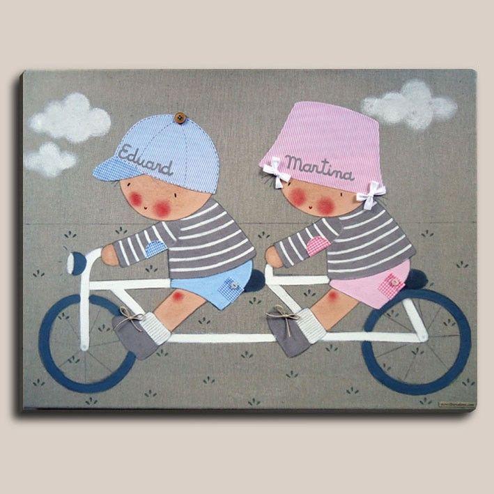 Decoracion infantil - Cuadro pintado a mano por #stencilbarcelona Bastidor de madera de 61 x46 cm, entelado con lino color piedra Motivo: 2 niños en tandem. Aplicaciones: bolsillos, coderas y gorra de tela, botones en bolsillos y gorra, cordones en los zapatos y lazos en las coletas. Si quieres este cuadro con otros colores, o nos quieres pdir algún cambio, contacta con Stencil Barcelona.