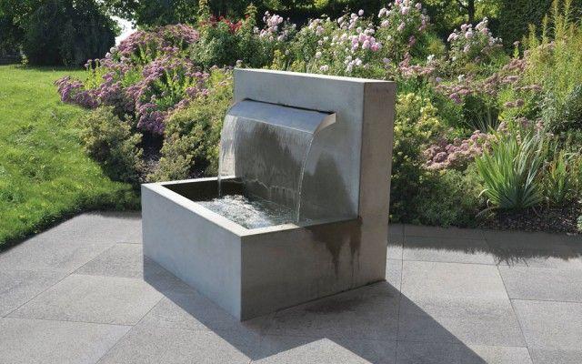 Wasserfall Brunnen Sichtbeton Grau Glatt Wasserfall Brunnen Brunnen Garten Wasserbecken Garten
