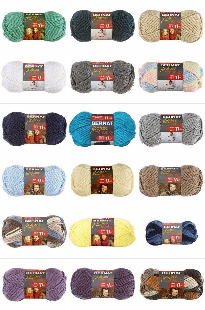 1 Bernat Softee Chunky Yarn Bulky Acrylic 3.5oz Solids 2.8oz Ombres Select Color #Bernat #knitting #crochet #yarn