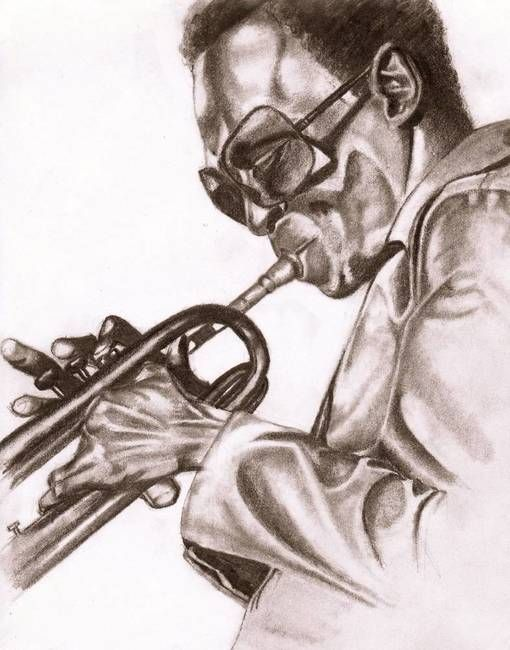 """""""Round Midnight"""" by Dallas Roquemore, Richmond // Black and white drawing of Miles playing trumpet // Imagekind.com -- Buy stunning, museum-quality fine art prints, framed prints, and canvas prints directly from independent working artists and photographers."""
