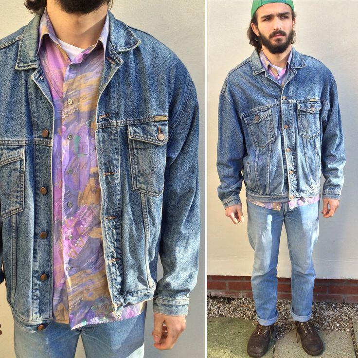 Vintage Denim Jacket 90's Jean Jacket Blue Denim Jacket Mens Denim Jacket Grunge XL Size g2QHW